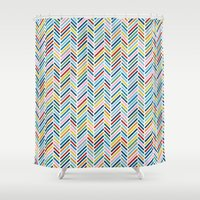 herringbone Shower Curtains featuring Herringbone Colour by Project M