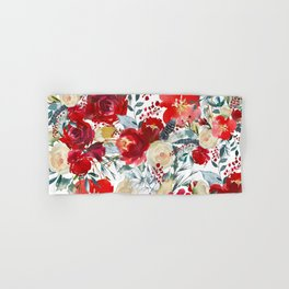 Red teal hand painted boho watercolor roses floral Hand & Bath Towel