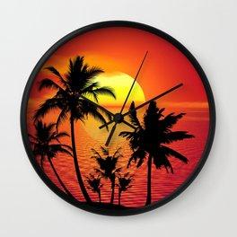 Tropical - Summer - Sunset - Beach - Palm Trees - Island. Little sweet moments. Wall Clock