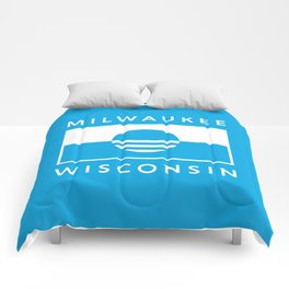 Milwaukee Wisconsin - Cyan - People's Flag of Milwaukee Comforters