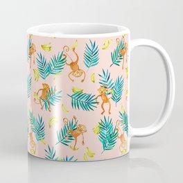 Tropical Monkey Banana Bonanza on Blush Pink Coffee Mug
