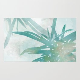 Aqua Blue Watercolor Palm Leaves Painting Rug