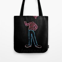 waldo Tote Bags featuring Invisible Waldo by Chris Bey