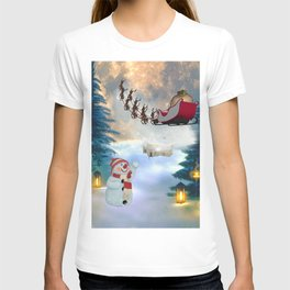 Christmas, snowman with Santa Claus T-shirt