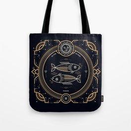 Pisces Zodiac Golden White on Black Background Tote Bag