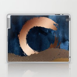 Navy Blue, Gold And Copper Abstract Art Laptop & iPad Skin