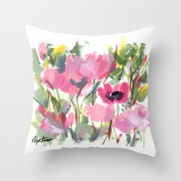 Pink Poppy Graphic Throw Pillow