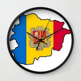 Andorra Map with Andorran Flag Wall Clock