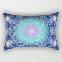 Flower Of Life Mandala Fractal turquoise Rectangular Pillow