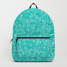 Turquoise Vines Drawing Backpack
