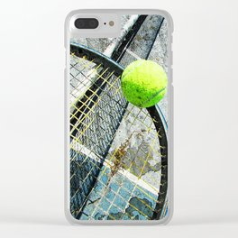 Modern tennis ball and racket 7 Clear iPhone Case