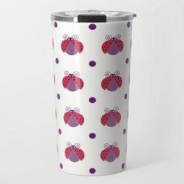 Red ladybugs flying and purple dots over light yellow background Travel Mug
