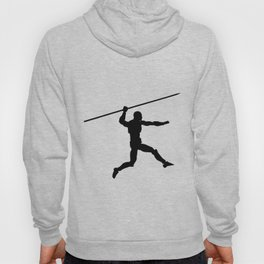 Silhouette of a running man with a spear Hoody