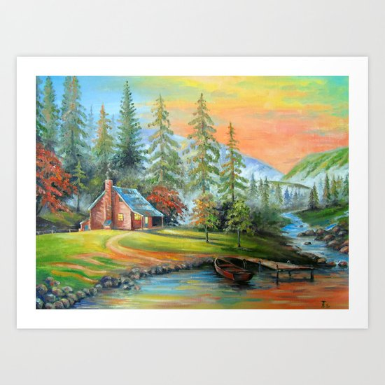 House at the mountain river Art Print