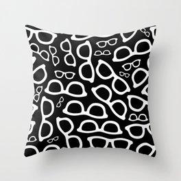 Smart Glasses Pattern - White on Black Throw Pillow