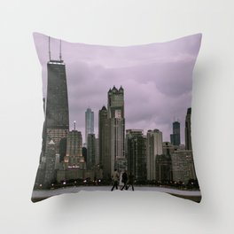 Purple Chicago Evening Throw Pillow