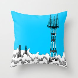 San Francisco - Sutro Tower (blue sky) Throw Pillow
