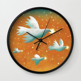 Stars Wings Wall Clock