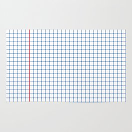 Dotted Grid Red and Blue Rug