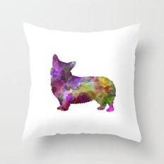 Welsh Corgi Cardigan in watercolor Throw Pillow
