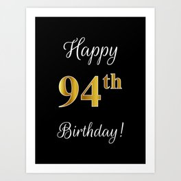 Elegant Happy 94th Birthday With Faux Imitation Gold Inspired Color Pattern
