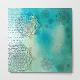 MANDALA COLLAGE ON Aqua Watercolor Metal Print