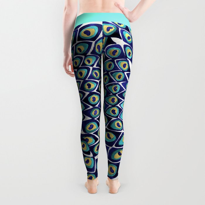 Peacock Mandala – Navy & Gold Leggings