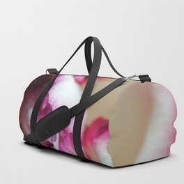 Pink Lined White Rose Duffle Bag