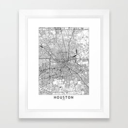 Houston White Map Framed Art Print