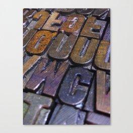 vintage letterpress type texture Canvas Print
