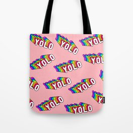 """Patches with rainbow words """"YOLO"""" (you only live once) Tote Bag"""