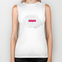 brain Biker Tanks featuring Brain by AMOSLIDE