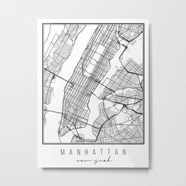 Manhattan New York Street Map Metal Print