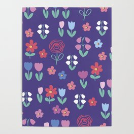 Drawing of spring flowers Poster