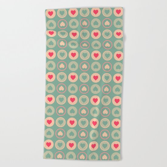 Cookie Love Retro Pattern Beach Towel
