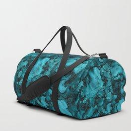 Blue Gemstone and Ink Malachite Glitter Marble Duffle Bag