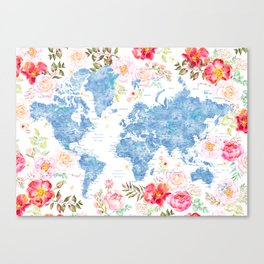 Blue and hot pink floral watercolor world map with cities Canvas Print