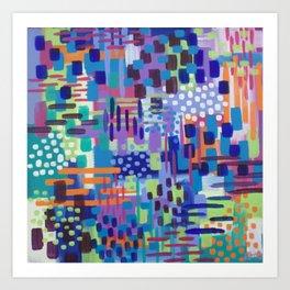 Crazy Rainbow Bright Abstract Art Art Print