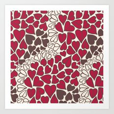HEARTS  ~  CRIMSON, CLEAR, BROWN Art Print