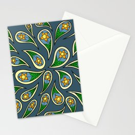 Paisley Blue Yellow and Orange Pattern Stationery Cards