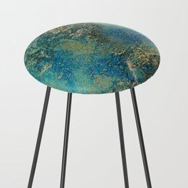Blue And Gold Modern Abstract Art Painting Counter Stool