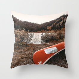 Rustic Autumn Canoe // Dusk Lit Gray Sky Pond Reflection in the Colorado Woodlands Throw Pillow