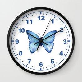 Blue Butterfly Watercolor Wall Clock