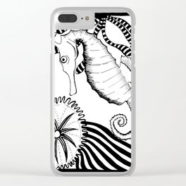 Coral reef black and white Clear iPhone Case