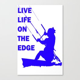 Live Life On The Edge Neon Blue Kitebeach Canvas Print