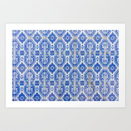 Close-up of blue and white ceramic wall tiles in Tavira, Portugal Art Print