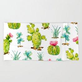 Green Cactus Watercolor Beach Towel