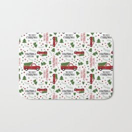 Merry Christmas Red Vintage Truck with Tree Bath Mat