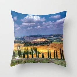 Cypress trees and meadow with typical tuscan house Throw Pillow