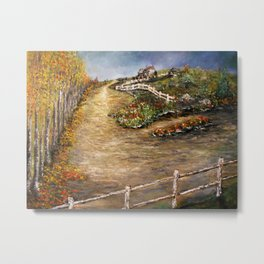 The Old Farm House in Autumn Metal Print